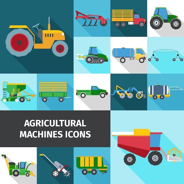 Jeu d'icônes de l'industrie agricole Vecteur Premium