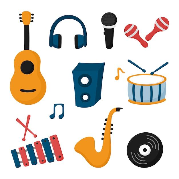 Jeu D'icônes D'instruments De Musique Isolé Sur Fond Blanc. Vecteur Premium