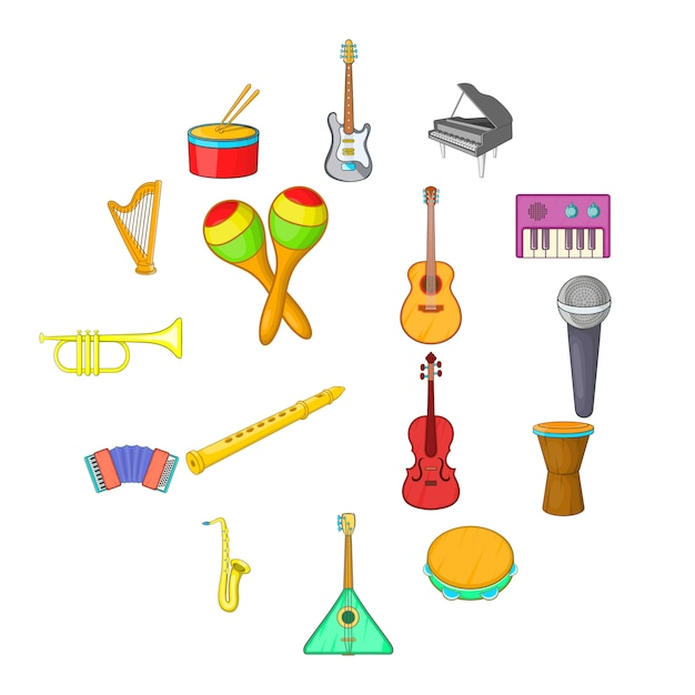 Jeu D'icônes D'instruments De Musique, Style Cartoon Vecteur Premium
