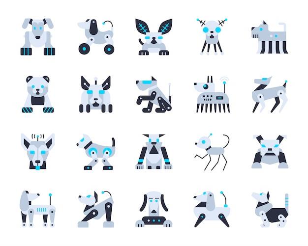 Jeu d'icônes d'intelligence artificielle de chien robot, transformateur de personnage, animal robotique, cyborg. Vecteur Premium