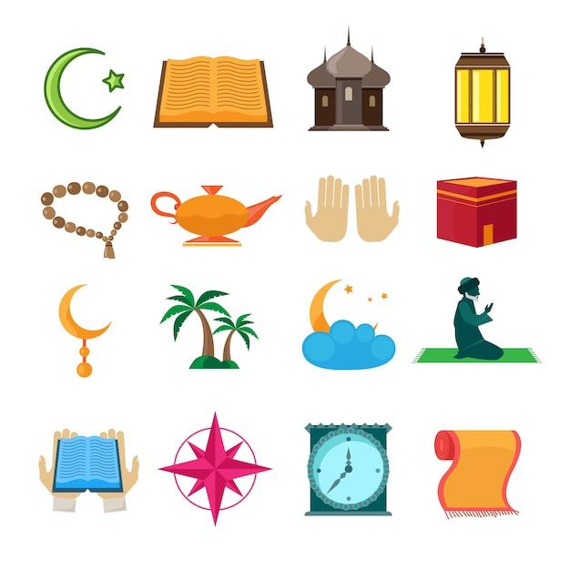 Jeu d'icônes de l'islam Vecteur Premium