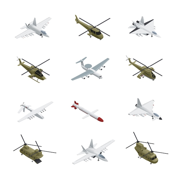 Jeu d'icônes isométrique de l'armée de l'air militaire, avions et hélicoptères avec différents types de couleurs, tailles et objectifs Vecteur gratuit