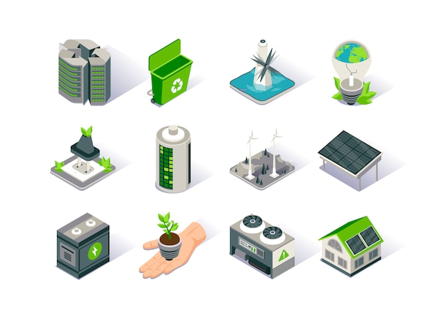 Jeu D'icônes Isométrique D'énergie Propre. Vecteur Premium
