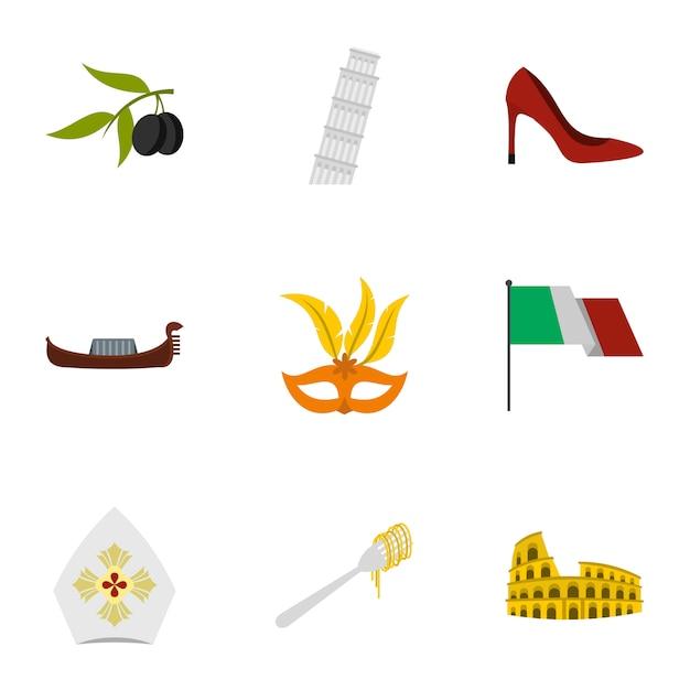 Jeu D'icônes De L'italie, Style Plat Vecteur Premium