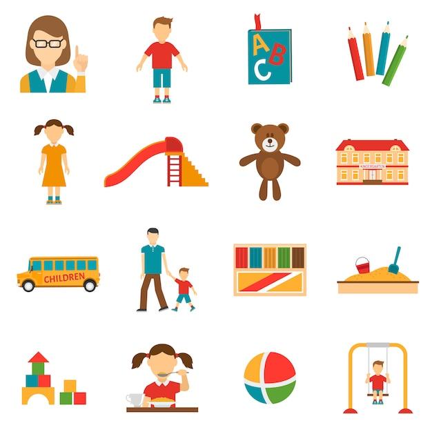 Jeu d'icônes de jardin d'enfants Vecteur gratuit