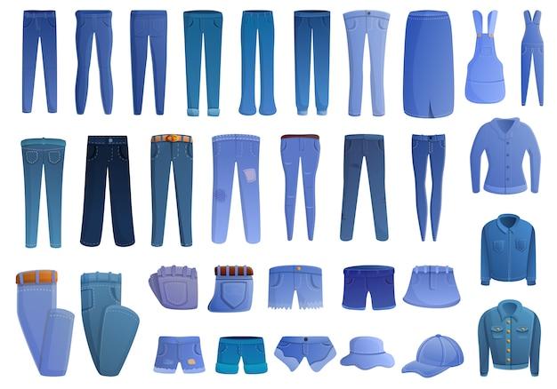 Jeu D'icônes De Jeans, Style Cartoon Vecteur Premium