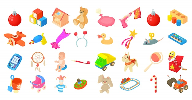 Jeu d'icônes de jouets Vecteur Premium