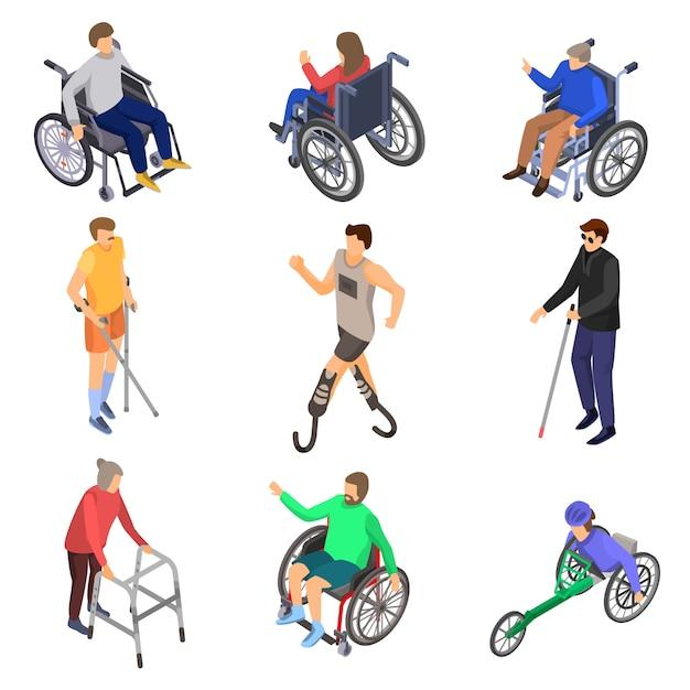 Jeu d'icônes jour personnes handicapées Vecteur Premium