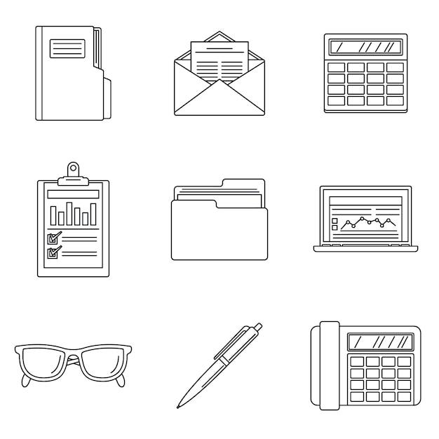 Jeu d'icônes de la journée de la comptabilité internationale Vecteur Premium