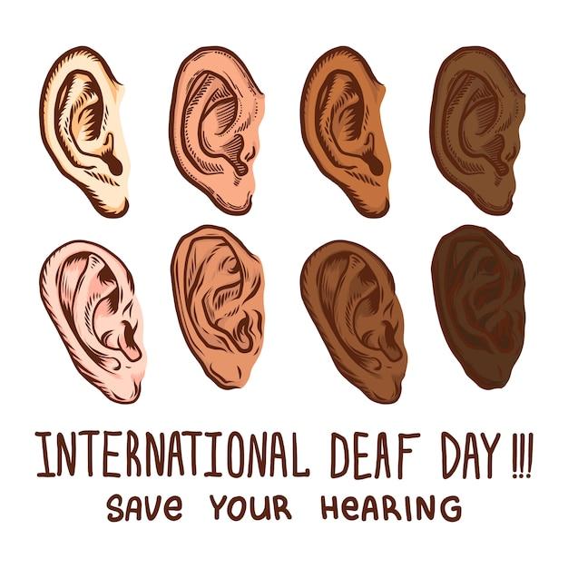 Jeu d'icônes journée sourde internationale Vecteur Premium