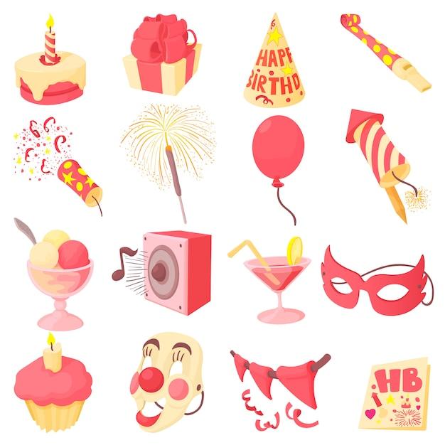 Jeu d'icônes de joyeux anniversaire Vecteur Premium