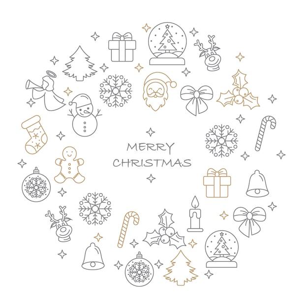 Jeu D'icônes De Joyeux Noël Mince Ligne Vecteur Premium