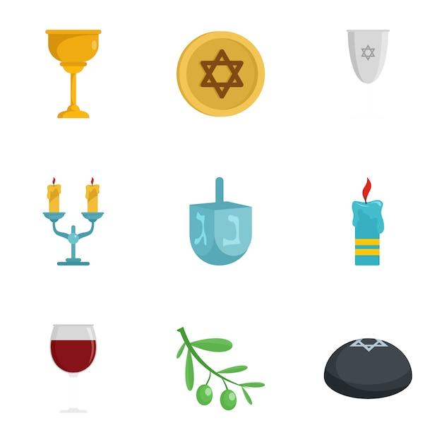 Jeu d'icônes de judaïsme. ensemble plat de 9 icônes vectorielles du judaïsme Vecteur Premium