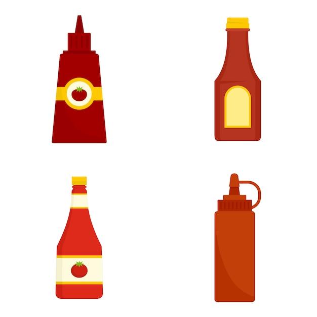 Jeu D'icônes De Ketchup Vecteur Premium