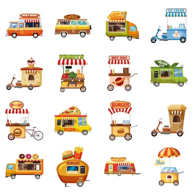 Jeu d'icônes de kiosque alimentaire de rue, style cartoon Vecteur Premium