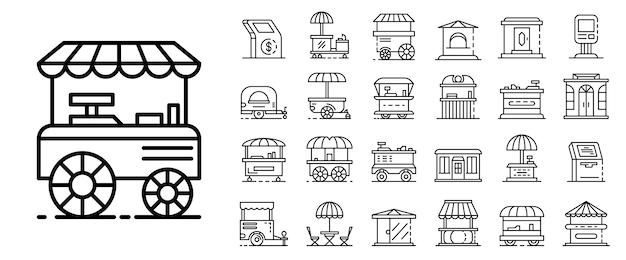 Jeu d'icônes de kiosque. ensemble de contour des icônes vectorielles de kiosque Vecteur Premium