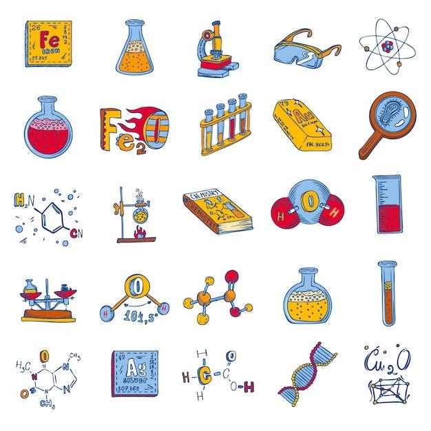 Jeu d'icônes de laboratoire de chimie Vecteur Premium
