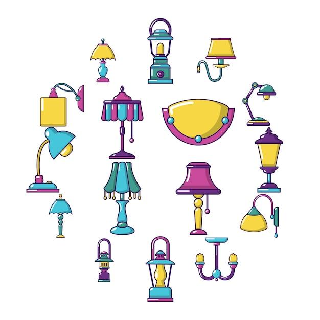 Jeu d'icônes de lampe, style cartoon Vecteur Premium