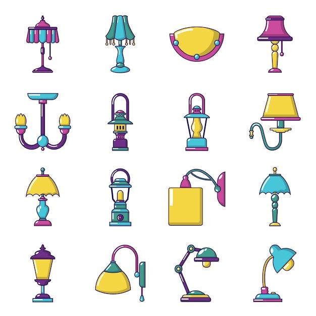 Jeu d'icônes de lampe Vecteur Premium