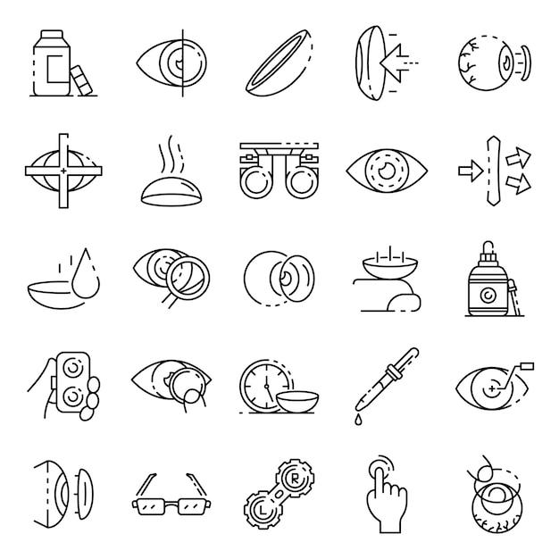 Jeu d'icônes de lentilles de contact, style de contour Vecteur Premium