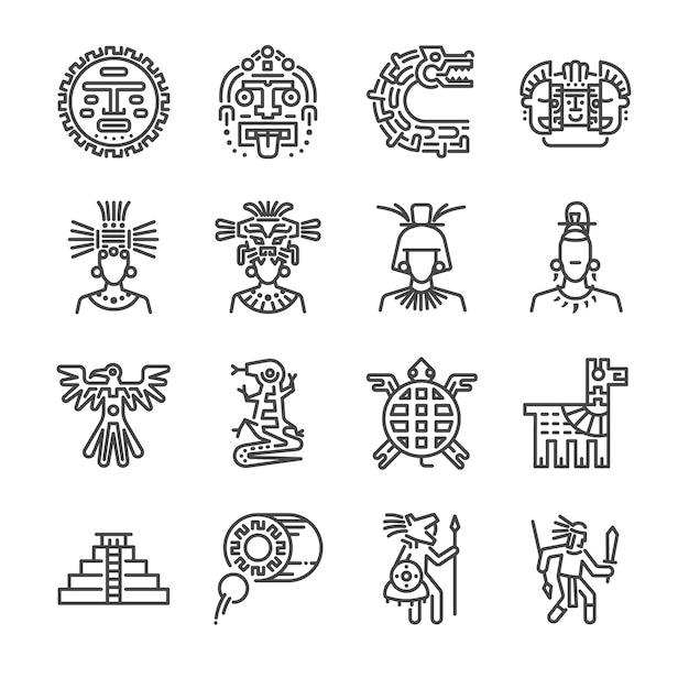 Jeu d'icônes de ligne aztèque. Vecteur Premium