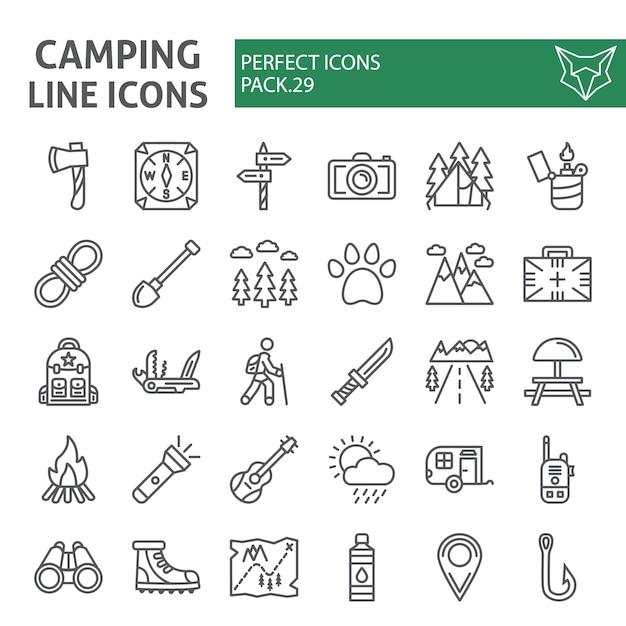 Jeu D'icônes De Ligne De Camping, Collection De Randonnée Vecteur Premium