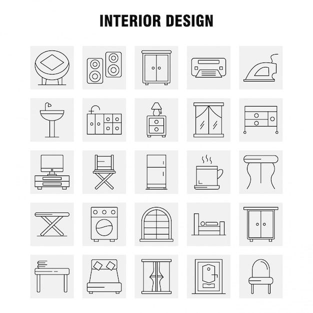 Jeu D'icônes Ligne Design D'intérieur Vecteur Premium