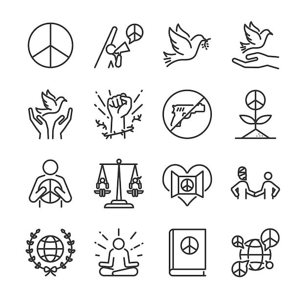 Jeu d'icônes de ligne des droits de l'homme. Vecteur Premium