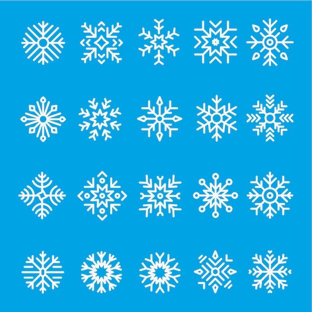 Jeu d'icônes de ligne de flocons de neige Vecteur Premium