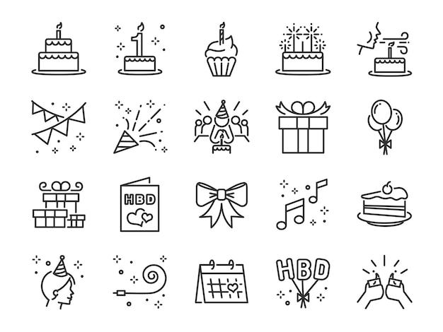 Jeu D'icônes De Ligne Happy Birthday Party. Vecteur Premium