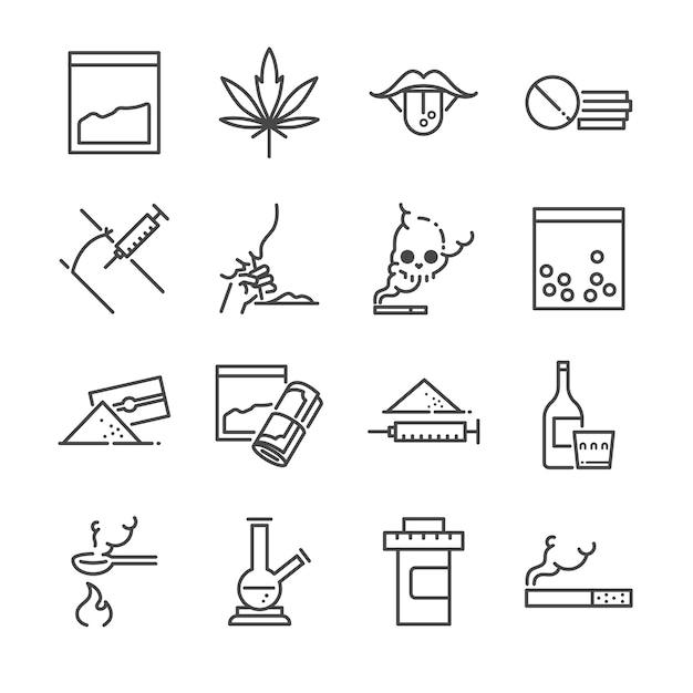 Jeu d'icônes de ligne de médicaments. Vecteur Premium