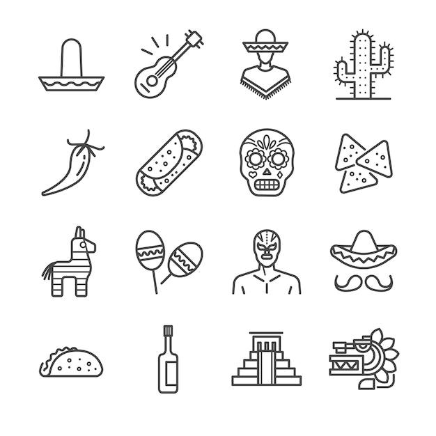 Jeu d'icônes de ligne mexicaine. Vecteur Premium