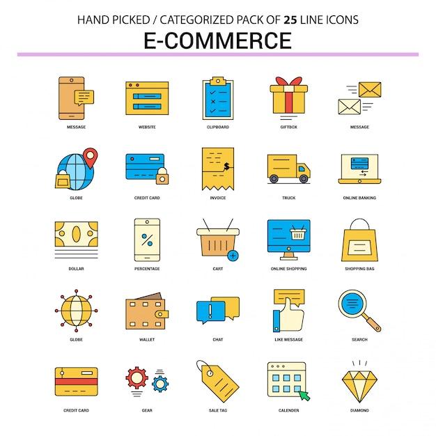 Jeu d'icônes de ligne plate de commerce électronique Vecteur Premium