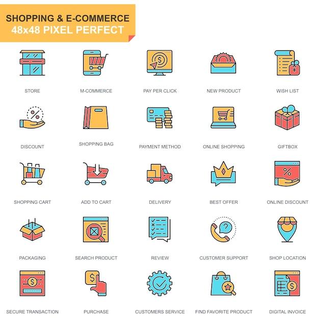Jeu d'icônes de ligne plate shopping et e-commerce Vecteur Premium