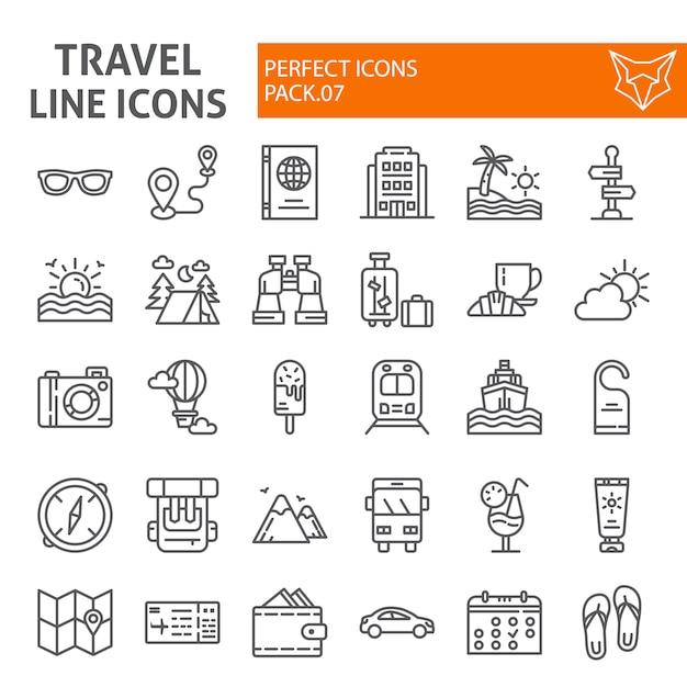Jeu D'icônes De Ligne De Voyage, Collection De Tourisme Vecteur Premium