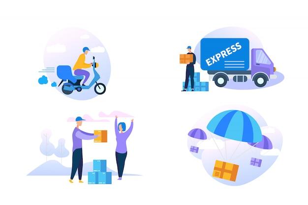Jeu d'icônes de livraison express sur fond blanc. Vecteur Premium
