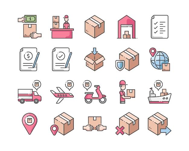 Jeu d'icônes de livraison et de logistique Vecteur Premium