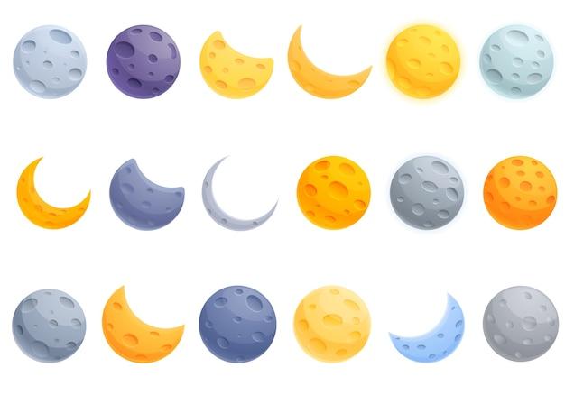 Jeu D'icônes De Lune. Icônes De La Lune Vecteur Premium
