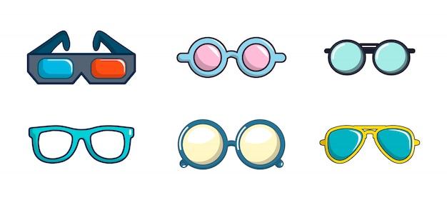 Jeu D'icônes De Lunettes. Ensemble De Dessin Animé De Lunettes Collection D'icônes Vectorielles Isolée Vecteur Premium