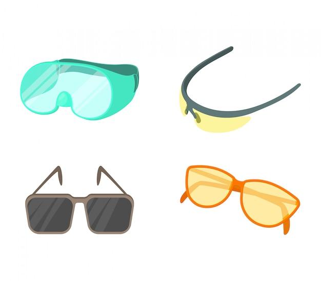Jeu d'icônes de lunettes de sport Vecteur Premium