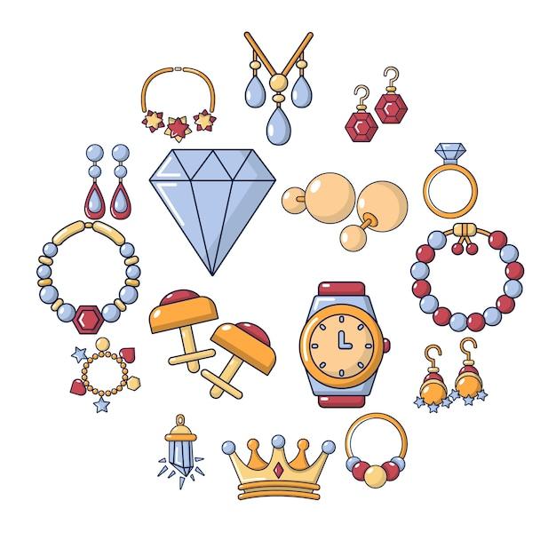 Jeu d'icônes de magasin de bijoux, style cartoon Vecteur Premium