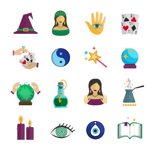 Jeu d'icônes de magicien diseur de bonne aventure et symboles paranormaux Vecteur gratuit