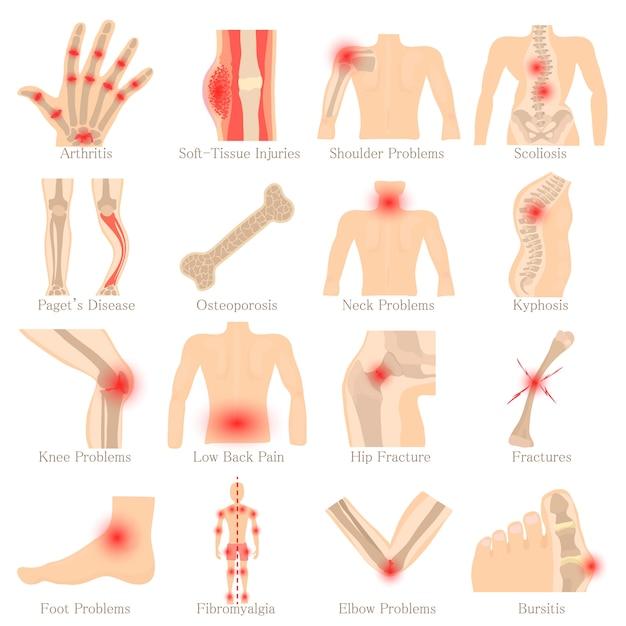 Jeu d'icônes de maladies orthopédiques Vecteur Premium