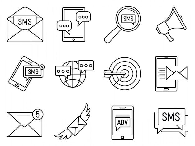 Jeu D'icônes Marketing Modernes Sms, Style De Contour Vecteur Premium