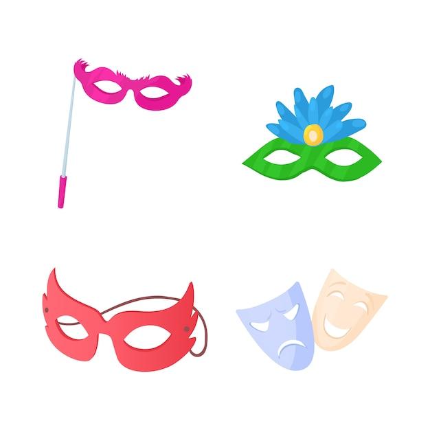 Jeu d'icônes de masque de carnaval Vecteur Premium