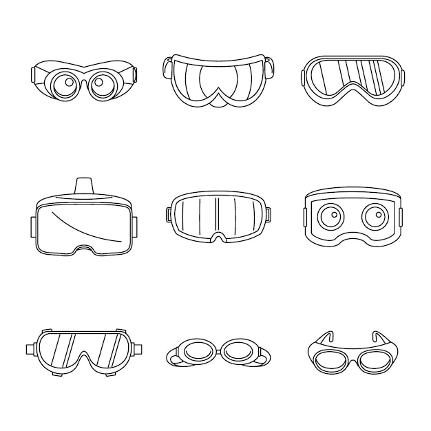 Jeu d'icônes de masque de verre de lunettes de ski Vecteur Premium