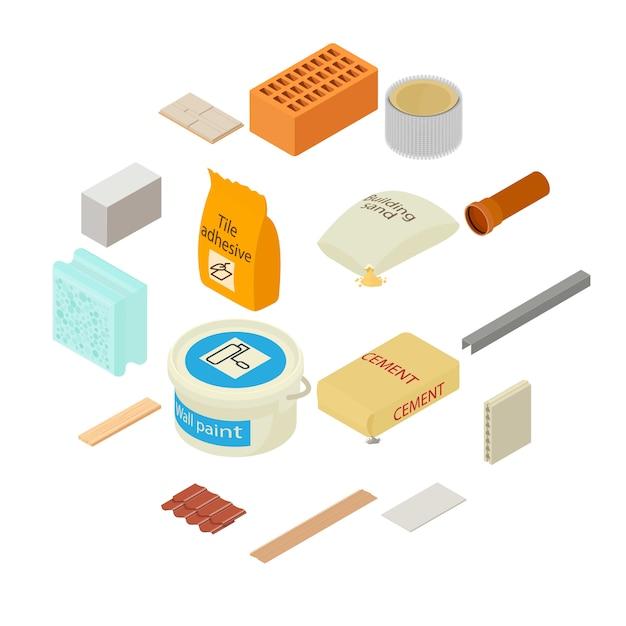 Jeu D'icônes De Matériaux De Construction, Style Isométrique Vecteur Premium