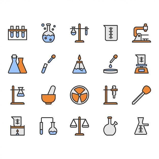 Jeu d'icônes de matériel scientifique et de laboratoire Vecteur Premium
