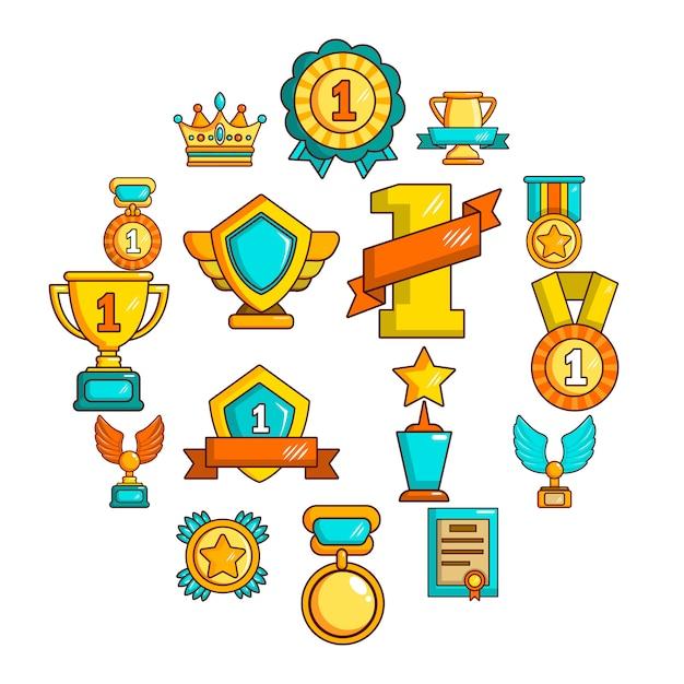 Jeu d'icônes de médailles coupes, style simple Vecteur Premium