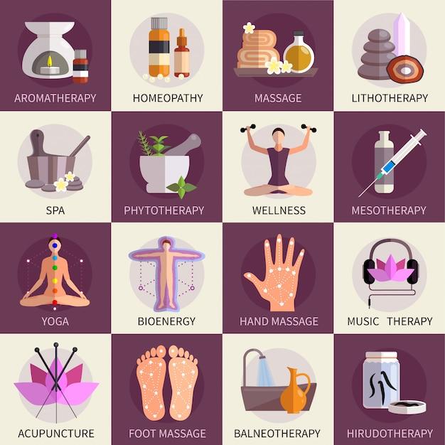 Jeu d'icônes de médecine alternative Vecteur gratuit